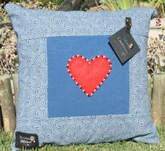 Handmade Cushion Cover African ShweShwe Print with Felt heart, embroidery and beads by IntleAfrika