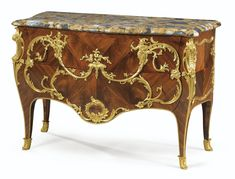 A GILT-BRONZE MOUNTED KINGWOOD, SATINÉ AND WALNUT COMMODE IN LOUIS XV STYLE, AFTER A MODEL BY CHARLES CRESSENT