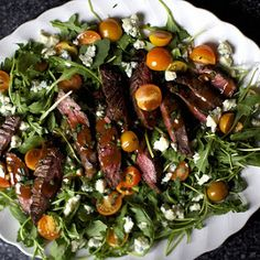 Skirt Steak Salad with Arugula and Blue Cheese Recipe | Yummly