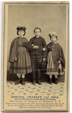 "Child Slave 'Cartes de Visites', 1863    Slave children, freed and brought North by abolitionists to emphasize the plight of slaves. The proceeds from sale of the photographs were to be used to educate freed slaves who had come under the jurisdiction of the Union Army in the New Orleans area. A caption on one of these photographs points out that the children had been turned out of a hotel in Philadelphia because of their ""color.""'"