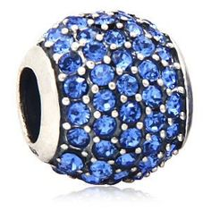 Babao Jewelry Huge Round Royal Blue CZ Crystals 925 Sterling Silver Bead fits Pandora Style European Charm Bracelets *** Details can be found by clicking on the image.