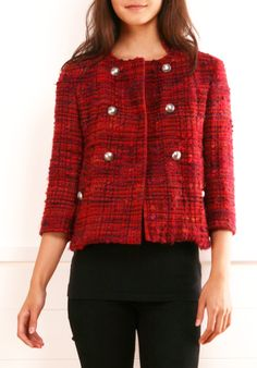 A red and Bordeaux colored tweed blend ladylike jacket, great over a dress or with a skirt or tailored trousers.