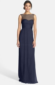 Long Navy Blue Bridesmaids Dresses Am Illusion Yoke Crinkled Silk Chiffon Gown