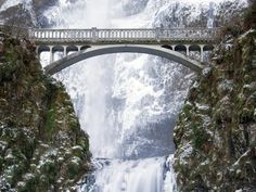 The 611-foot-tall Multnomah Falls flows through Oregon's lush Columbia River Gorge like something out of a fairy tale. The double cascade has been known to freeze over during extremely cold weather, offering one of the most unique, travel-worthy vistas in the Pacific Northwest.