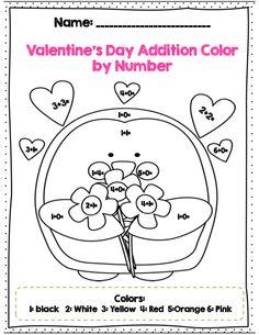 Valentine Math Sheets First Grade