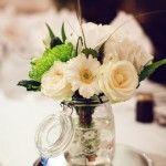 flowers in kilner jars. pretty!