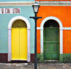green, orange, yellow doors and walls Bahia Brazil, Yellow Doors, Quilt Modernen, Paraiba, Doorway, Architecture, Stairways, Windows And Doors, Interior And Exterior