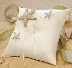 The Beach Collection Ring Bearer Pillow is the perfect accessory to compliment your tropical wedding celebration