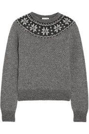 Saint LaurentFair Isle mohair-blend sweater