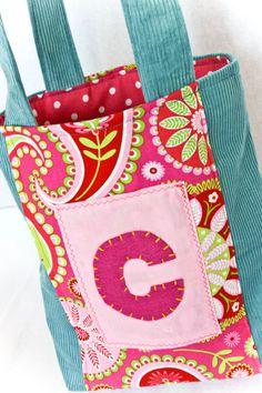 Library Bag Personalized Children's Tote Bag Custom Handbag by stitchinnetka, $28.00