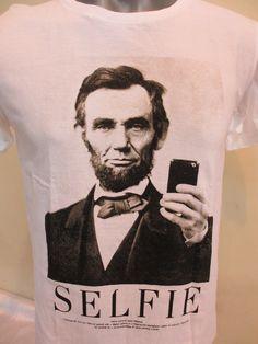 Abe Lincoln Selfie Design Men's Super Soft 100% Cotton T Shirt On White