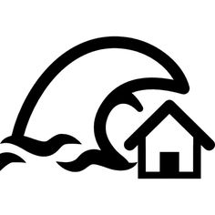 Tsunami insurance symbol of a home and a big ocean wave Icons ...