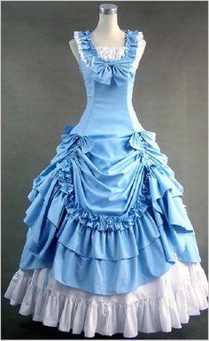 Elegant Flounced Victorian/Civil War Era Gown (4 colors)