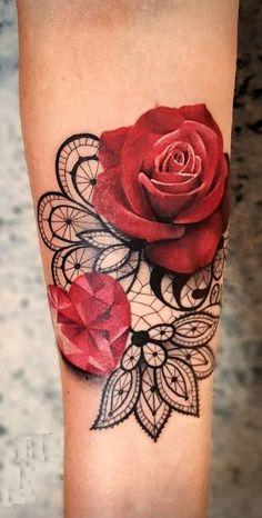 Want Hot Tattoos ? Find tattoos based on special meanings symbols hidden messa Want Hot Tattoos ? Find tattoos based on special meanings symbols hidden messa Lace Rose Tattoos, Rose Tattoos For Women, Small Tattoos For Guys, Lace Tattoo, Sleeve Tattoos For Women, Hot Tattoos, Pretty Tattoos, Beautiful Tattoos, Body Art Tattoos