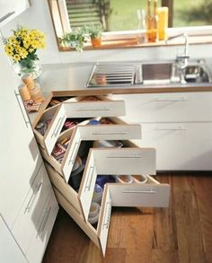 New kitchen corner drawers cupboards 60 ideas Home Decor Kitchen, Interior Design Kitchen, Diy Kitchen, Kitchen Furniture, Kitchen Storage, Awesome Kitchen, Cabinet Storage, Kitchen Ideas, Kitchen Organization