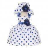 Cinderella Couture Baby Girls Navy White Polka Dot Hat Occasion Dress 6-24M - SophiasStyle.com