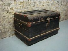 Antique Metal and Wooden Shipping Chest Coffee Table Storage Box Black and Red  Picture 1