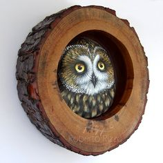 Handpainted Owls in Their Wooden Nest, Unique Handmade 3-D Artworks by Roberto…