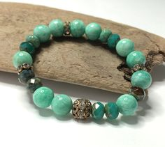 Artisan Aqua Teal Gemstone Stretch Bracelet  by LoveandLulu