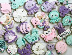 Pink, Purple & Turquoise Under the Sea Fish and Mermaid Cookies (Kynzley) Mermaid Cookies, Fish Cookies, Turtle Cookies, Fancy Cookies, Ocean Birthday Cakes, Birthday Cookies, Mermaid Birthday, 3rd Birthday, Macarons