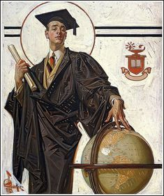 """(Joseph Christian) Leyendecker German-born American / """"Graduate"""", oil on canvas, for cover of The Saturday Evening Post magazine, June 1920 . depicts smug looking university student in cap and gown with hand on globe and diploma in the other hand American Illustration, Illustration Art, Illustrations, Norman Rockwell, Jc Leyendecker, Wow Art, Art History, Art Inspo, Vintage Art"""