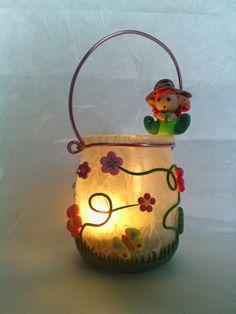 Il meraviglioso mondo del Fimo... e altro ancora!: Lanternina realizzata con un vasetto di yogurt decorato con fiori farfalle ed elfo in Fimo