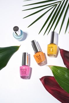 Four times the fun!  The OPI Fiji Collection is offered in Infinite Shine, adding one more day of wear thanks to our base and top coat with ProStay technology.  Shades shown: Suzi Without A Paddle, Exotic Birds Do Not Tweet, No Tan Lines, and Two Timing the Zones.