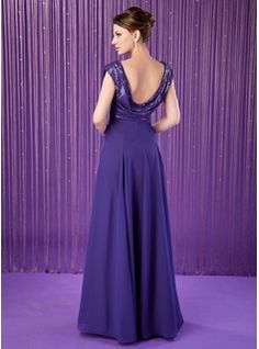 A-Line/Princess Cowl Neck Floor-Length Chiffon Sequined Mother of the Bride Dress With Ruffle (008018936) - JenJenHouse