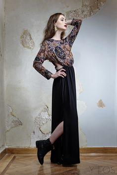 'Heliotrope' Black & Print Maxi Dress by Nidodileda