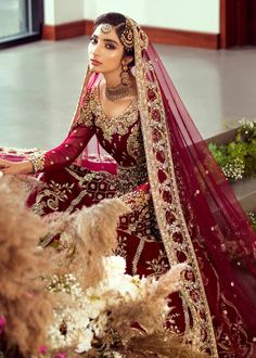Color: cranberry redIncludes: pishwas, lehanga and dupatta Desi Wedding Dresses, Princess Wedding Dresses, Boho Wedding Dress, Modest Wedding, Wedding Wear, Blue Wedding, Indian Bridal Outfits, Pakistani Wedding Dresses, Pakistani Suits