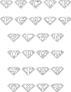 Superman alphabet for the color book book DIY Tattoo diy best tattoo ideas diy best tattoos Alphabet A, Hand Lettering Alphabet, Pretty Fonts Alphabet, Doodle Alphabet, Monogram Alphabet, Superman Logo, Superman Tattoos, Superman Symbol, Creative Lettering