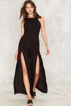Slit It and Quit It Backless Jumpsuit - Clothes | Rompers + Jumpsuits | Dressed To Frill | Best Sellers
