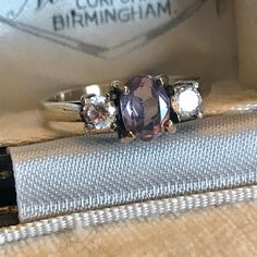 Excited to share this item from my shop: Vintage Amethyst Gold Ring, Vintage Amethyst Ring, Trio Gold Ring, February Birthstone Ring, Amethyst Jewellery Amethyst Jewelry, Birthstone Jewelry, Amethyst Rings, Gemstone Rings, Antique Rings, Antique Jewelry, Vintage Jewelry, Gold Rhinestone, Rhinestone Jewelry