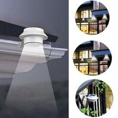 LED Solar Powered Fence Gutter Light Outdoor Garden Yard Wall Pathway Lamp White + Bracket