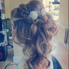 Wedding Hair...there is a lot going on but it's pretty with great curls. ❤️ the flowers!