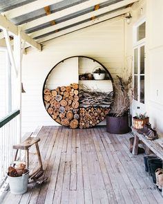 Outdoor Spaces, Outdoor Living, Outdoor Decor, Interior And Exterior, Interior Design, Firewood Storage, Backyard Patio, My Dream Home, Sweet Home