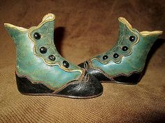 Adorable Antique Victorian Blue and Black Scalloped Button Up Baby Shoes or Boot | eBay