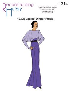 Get this 1930s Evening Gown pattern and be gorgeous by dinnertime! Based on an original pattern from the early 1930s, this gowns dolman sleeves and paneled skirt is as flattering as it is typical of the early 30's. Mid-calf length and full-length options included. Sleeveless option is perfect for evening wear. Beautiful in sheer silks …