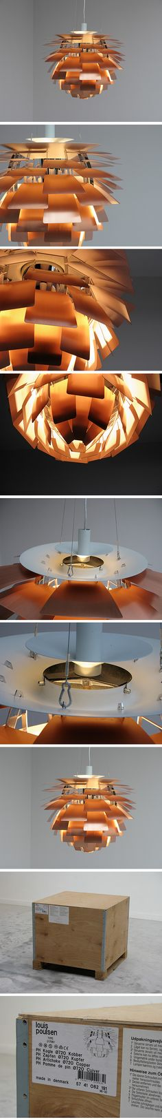 Poul Henningsen for Louis Poulsen; PH Artichocke pendant lamp, copper, chromed and painted metal, Denmark, 1958 Beautiful Interior Design, Beautiful Interiors, Unique Lighting, Lighting Design, Deco Luminaire, Lamp Light, Light Bulb, Shine The Light, Lobby Interior