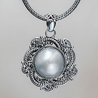 Cultured pearl flower necklace, 'Moonflower' by NOVICA #handmade4life #baliandjava