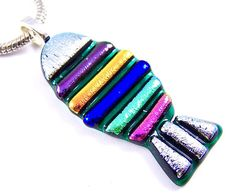 "Dichroic Pendant - Fish Beach Tropical Silver Green Blue Purple Teal Cobalt Sapphire Pink Striped 2"" 50mm Stained Glass (Frame Picture)"