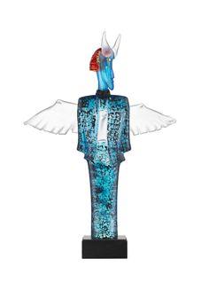 Checkman Limited Art glass Blue, design by Kjell Engman for Kosta Boda
