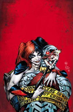 Harley Quinn and Deadshot  I love how she took Joker's face and put it on her new boyfriend, shows she still loves Mista J