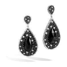 John Hardy Classic Chain Black Gemstone & White Sapphire Drop Earrings ($1,400) ❤ liked on Polyvore featuring jewelry, earrings, teardrop earrings, gem jewelry, white sapphire earrings, chain drop earrings and john hardy jewelry