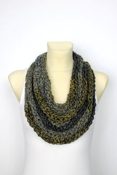 Bulky Chain Scarf - Chain Knit Scarf - Knit Scarf Necklace Knit Rope Scarf - Finger Knit Scarf - Brown Infinity Scarf - Chunky Infinity