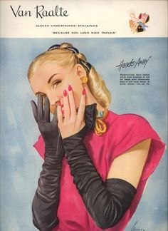This is such a clever glove design idea! I'd love to find a pair for my own vintage glove wardrobe one day. #vintage #1940s #gloves #ads