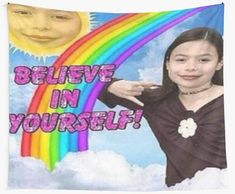 ICarly Believe in yourself Wall Hanging Tapestry ICarly | Etsy Cool Memes, Stupid Funny Memes, Funny Quotes, Girl Quotes, Belive In, Believe In You, Reaction Pictures, Funny Pictures, Funny Pics