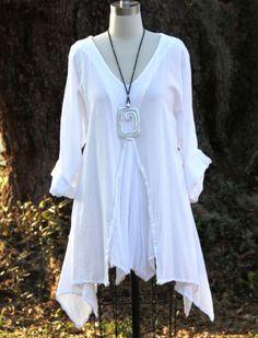 Oh My Gauze Cotton Lagenlook Renne Flared Godet Tunic Top OS 1x 2X 3X White Snow | eBay