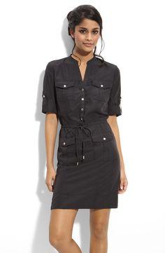 Main Image - Calvin Klein Roll Sleeve Shirtdress