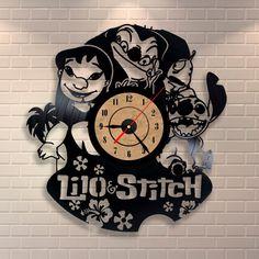 Lilo and Stitch art vinyl wall record clock